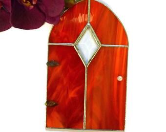 Gnome Door, Fairy Door, Stained Glass, Orange, Large