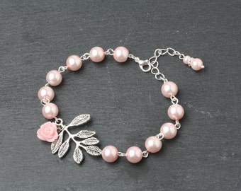 Pink Bridesmaid Jewelry Pink Pearl Bracelet  Pink Wedding Bracelet Bridesmaid Bracelets Pearl Pink Bridesmaid Gift Rustic Wedding Jewelry