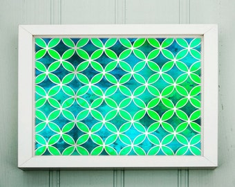PACIFIC GARDEN - Instant Digital Download Print - Blues & Greens Geometric Decor - HD Wall Art Frameable Print -includes 5 Sizes up to 20x30