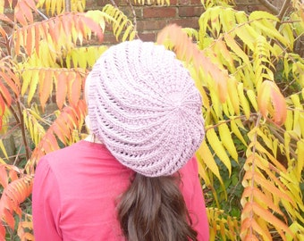 Knitting PATTERN SLOUCH HAT - Slouchy Spiral Hat Beanie Tam Toque Instant Download Pattern