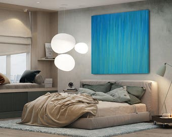 Abstracr Art 48x48 XLarge Canvas Art Minimalist Painting Green Teal Turquoise Blue ABSTRACT / Oil on Canvas /Modern Art / Ready to Ship Art
