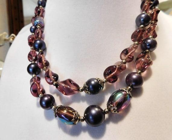 Designer Trifari Lucite Bead Necklace