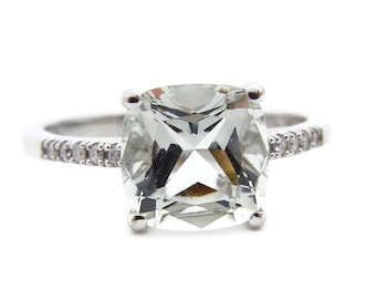 Princess Cut Quartz Diamond Ring - 14K White Gold Ring - Size 8 - Square Light Green Quartz Diamonds - Pale Green Quartz # 4556