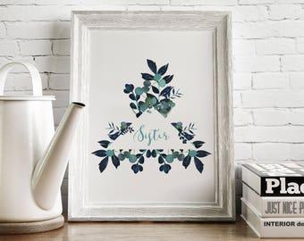 Sister Printable, Gift for Sister, Watercolor Leaves Print, Watercolor Printable, Gift for her