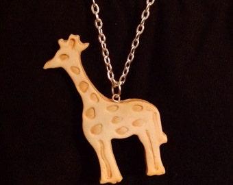 Animal Cracker Necklace - Faux Giraffe Polymer Clay Cookie Charm - Cute Fake Food Pendant -Kawaii Jewelry
