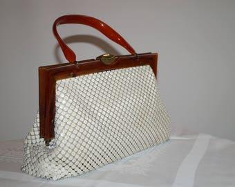 Vintage Chain mail Handbag with mock tortoise shell handle