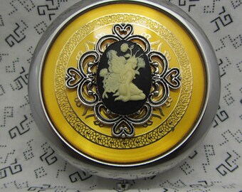 Compact Mirror Garden Flower Fairy Comes With Protective Pouch Gold Compact Mirror