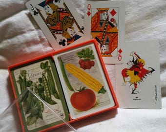 vintage double deck of HALLMARK Playing Cards GARDENING