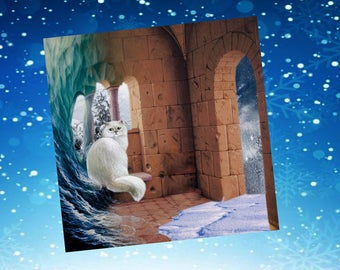 Card with cat, a bit surreealiste: winter dream