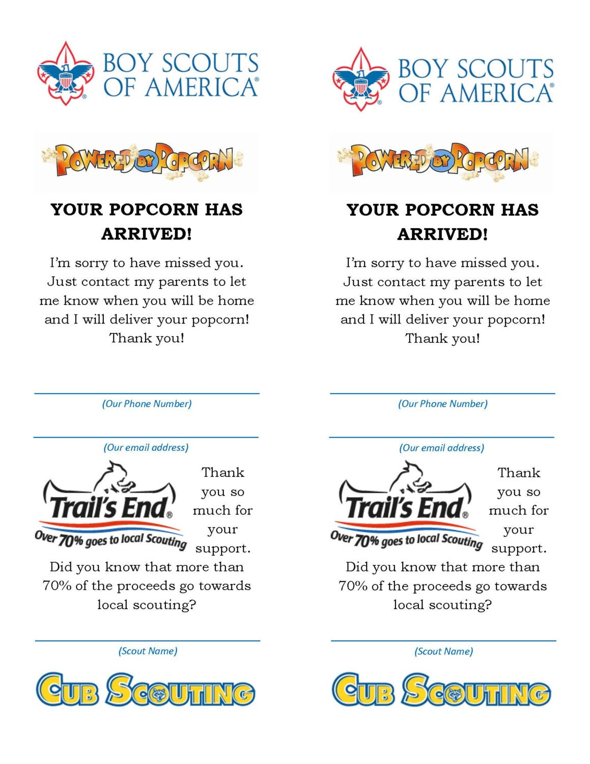 Boy Scout Popcorn Your Popcorn Is In Card
