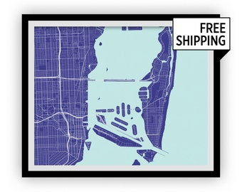 Miami Map Print - Choose your color