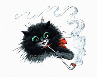 Cat Notecard | Kitty Smokes a Pipe | A Merry Time | Repro Maurice Boulanger