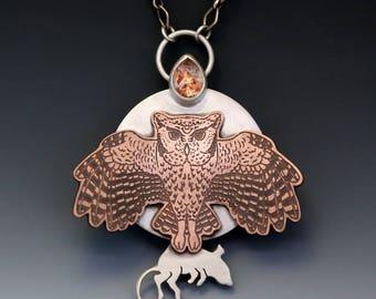 Owl necklace, owl pendant, owl jewlelry, screech owl, sunstone necklace, sunstone jewelry, sunstone pendant, full moon, full moon necklace
