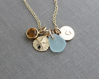 Charm Necklace with 14k Gold Filled Sand Dollar , Sea Glass and Initial Charm, Wedding Bridesmaid Gift,  Swarovski Birthstone, Mothers Day