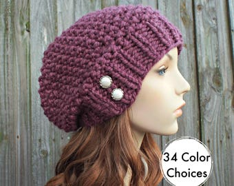 Womens Chunky Knit Hat Seed Beret Fig Purple Slouchy Beanie - Fall Fashion Warm Winter Hat Knit Accessories - 34 Color Choices