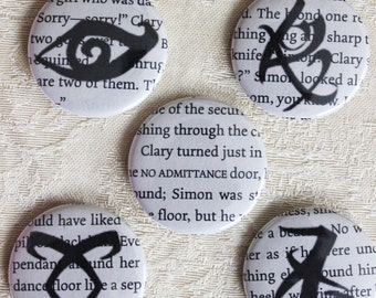 The Mortal Instruments  1.5 inch diameter pushback pins. 5 piece set! Book pages makes each pin entirely unique.