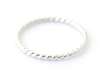 Sterling twist ring - silver stacking ring - delicate silver ring - rope ring - silver band - simple dainty jewelry - Aerin ring 1mm