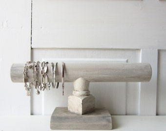 Shabby Chic Bracelet Holder - Architectural Salvage - Chippy White / Weathered Gray - Quantities Available