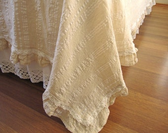 Ivory White Lightweight QUEEN KING Coverlet Summer Blanket   Top Sheet  Odemis Natural Woven Turkish Cotton