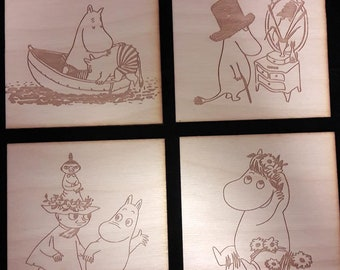 Moomins, Retro Inspired  Coaster Set of 4, Laser Cut, Plywood Burch.