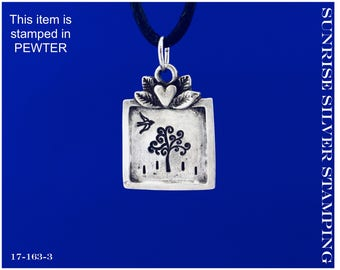 Tree Necklace, Hand Stamped Pewter, Bird and Tree Pendant, Tree of Life Necklace, Tree of Life Gift, Serene Scene, Nature Scene Jewelry