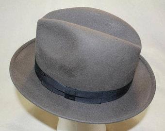 Vintage Robert Hall Gray Fur Felt Men's Dress Hat Fedora Size 7