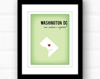 Washington DC map | Washington DC art | Washington dc print | District of Columbia | Washington dc poster | political art print