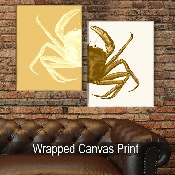 Nautical Decor Crab Prints Mustard/Cream Beach Decor bathroom