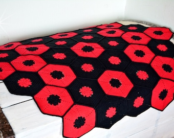 Baby blanket black and red. Baby shower gift for baby girl or baby boy. Boho baby afghan. Gothic bedding. Gothic throws.