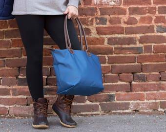 Nylon Tote Bag 16inch, monogrammed tote, monogram bag, bridesmaid gift, market tote bag, waterproof tote bag, book bag, library tote