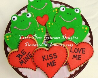 Froggy Love - Valentine's Day Cookies - 6 Cookies
