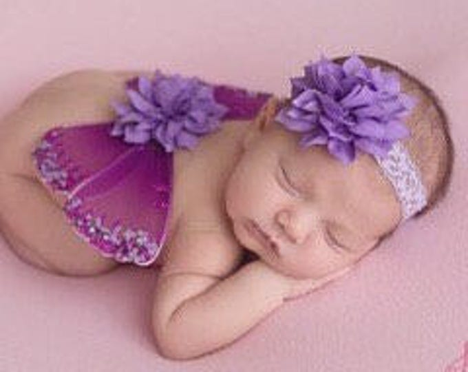 Plum & Lavender Glitter Baby Butterfly Wings AND/OR Headband - newborn photos, photo prop, bebe, newborn photographers by Lil Miss Sweet Pea