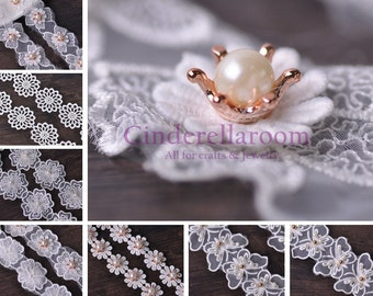 1 Yard Pearl Lace Embroidered Edge Trim Ribbon Applique Wedding DIY Sewing Craft Gift 12 Styles SKU TH233~TH243-1