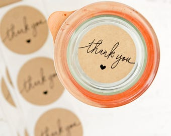 SALE Medium Thank You Sticker Seals - Easy Peel Wedding Favor Bag or Envelope Accessory - 24 Stickers