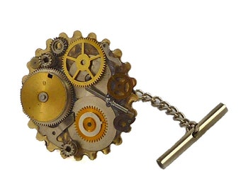 Tie Pin Steampunk Gear and Cog Tie Tac Neo Victorian Mixed Metals Embellished with Repurposed Watch Parts