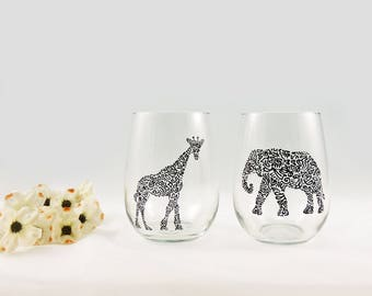 Giraffe and elephant glasses - Hand painted stemless wine glasses - Set of 2 - Safari Collection, black