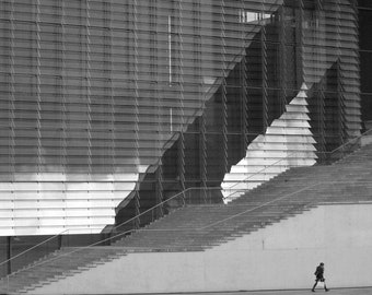 Keep Walking - Berlin - Black & White Photography Fine Art Print - Cloudy Skies, Steps, Lines and Mirrored Windows - Wall Home/Office Decor