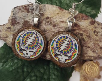 Grateful Dead Wood Earrings/ Grateful Dead Earrings/ Stealie Earrings/ Wood Earrings/ Grateful Dead Jewelry/ Jerry Garcia/ Dead Head Gift