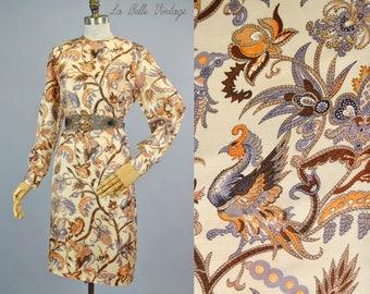 Phoenix Print Shift Dress M L Vintage 60s Silky Colorful Dress & Matching Feather Belt