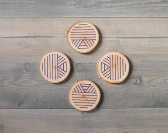 Coaster set, Boho decor, Father's Day, Gift for men, Reclaimed wood coasters, Rustic decor, Wooden coasters, Block printed by hand in purple
