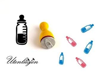 Stamp mini, baby bottle, rubber stamp Ø 12 mm