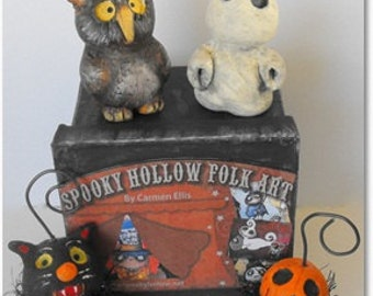 Halloween Ornament gift set  hand sculpted made to order