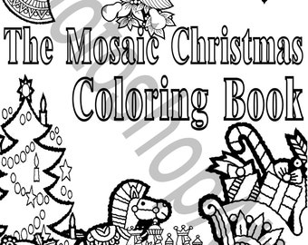 The Mosaic Christmas Coloring Book 33 Printable Pages Instant Download PDF Party Favors Activity Holiday Theme Color DIY
