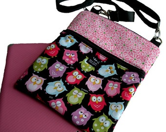 Owls Daisies Flowers Pink Green Fabric iPad Kindle Fire Nook Color E Reader Sleeve Passport Travel Washable Messenger Bag  Sling Purse