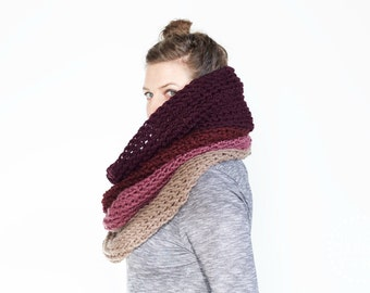 The Ombré Cowl | ORCHID | Chunky Scarf Knit Ombré Oversized Huge Textured Winter Cowl