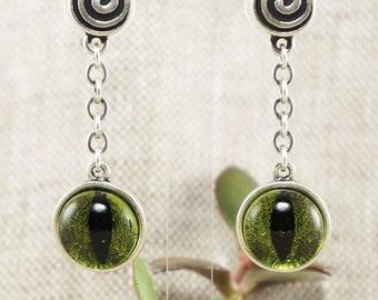 Earrings Olive Green Cat Eye no.2 (#6557)