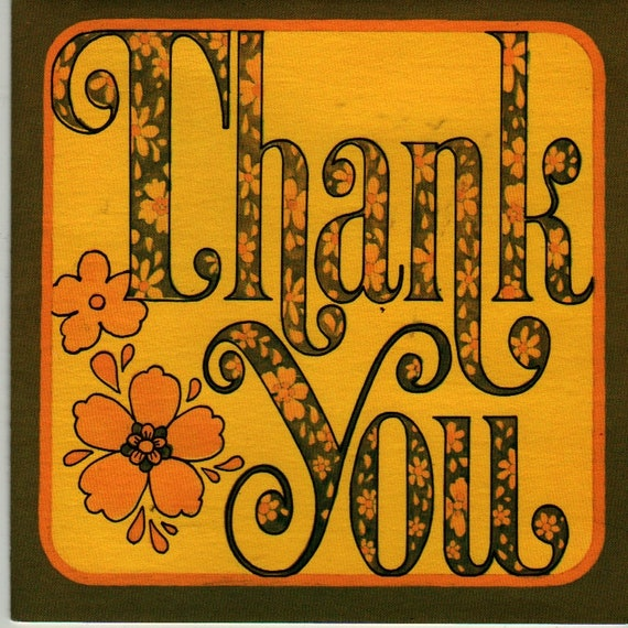 Thank You Notecards (Set of 6) Yellow, Orange, and Brown Flower Design + American Greetings + 1972 + Vintage Stationery Set