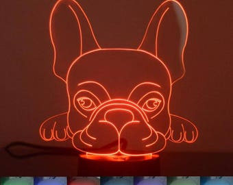 French Bulldog Face Colour Changing LED Acrylic Light