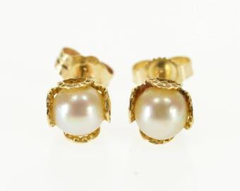 14k Pearl Ball Inset Dot Pattern Stud Post Back Earrings Gold