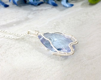 Blue Crystal Necklace Wire Wrapped Pendant Statement Necklace Teardrop Pendant Necklace Wire Wrapped Jewelry  Gift for Her Gift for Mom